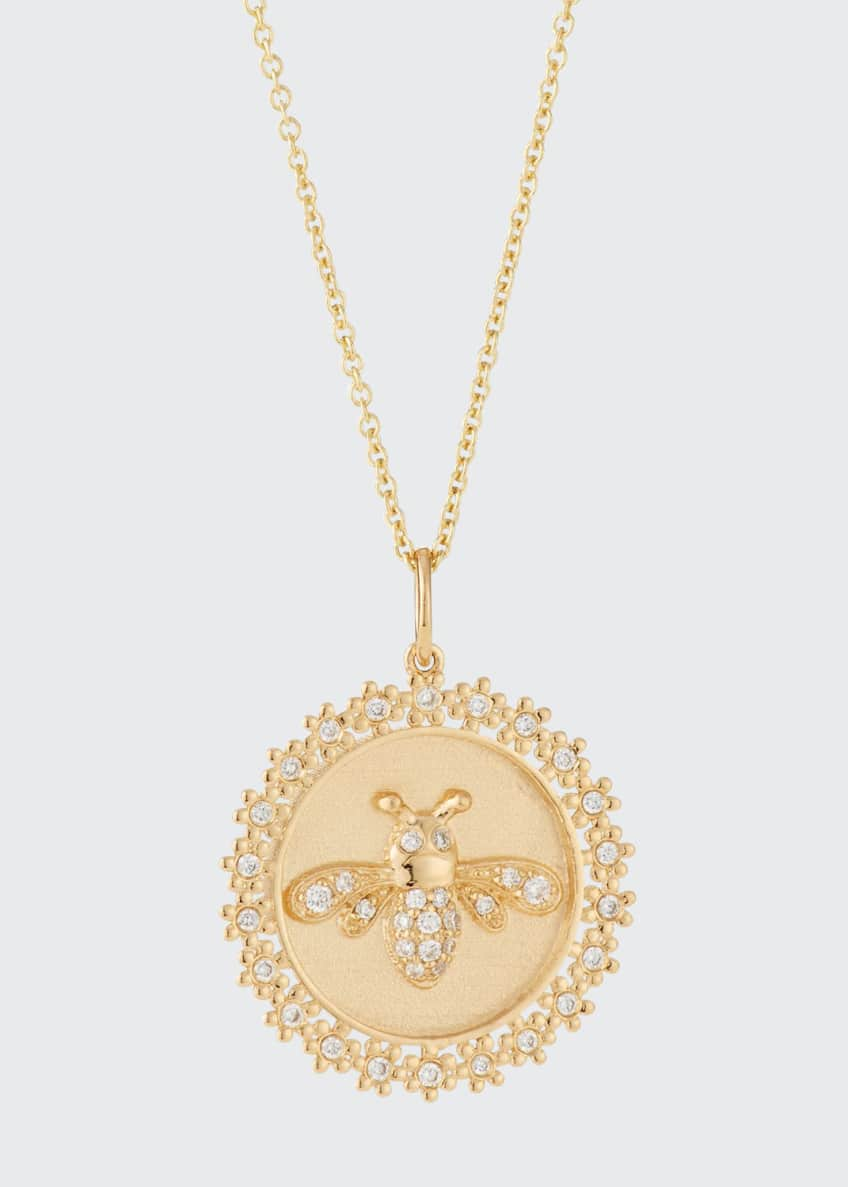 Sydney Evan 14k Diamond Bee Medallion Necklace