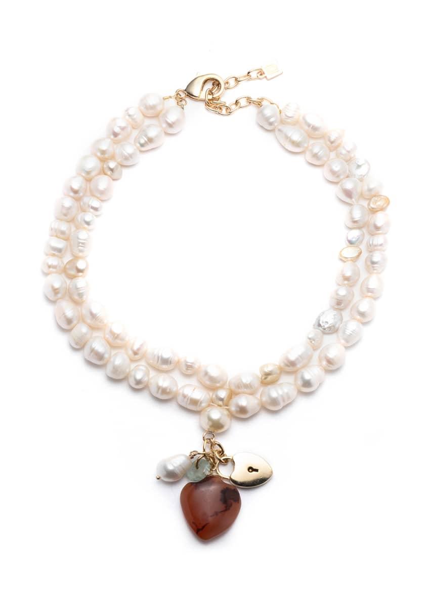 Dannijo Seina Pearl 2-Strand Pendant Necklace