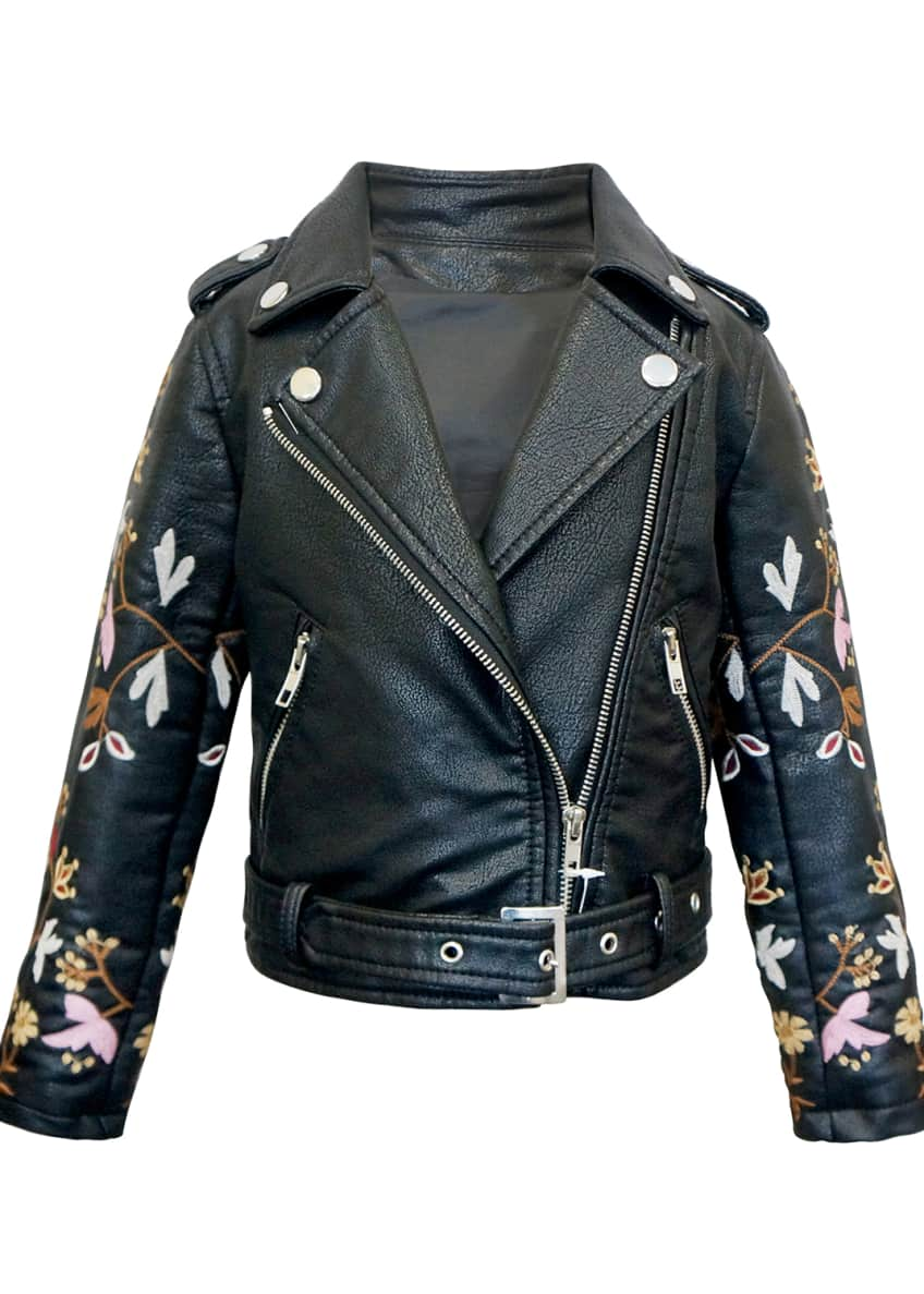 Hannah Banana Girl's Faux Leather Floral Embroidery Jacket,