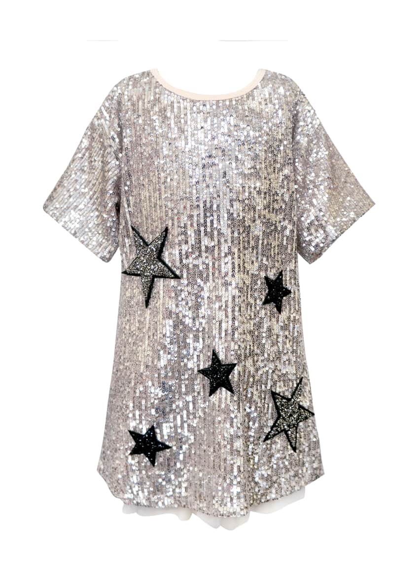 Hannah Banana Girl's Sequined Star Dress, Size 4-6X