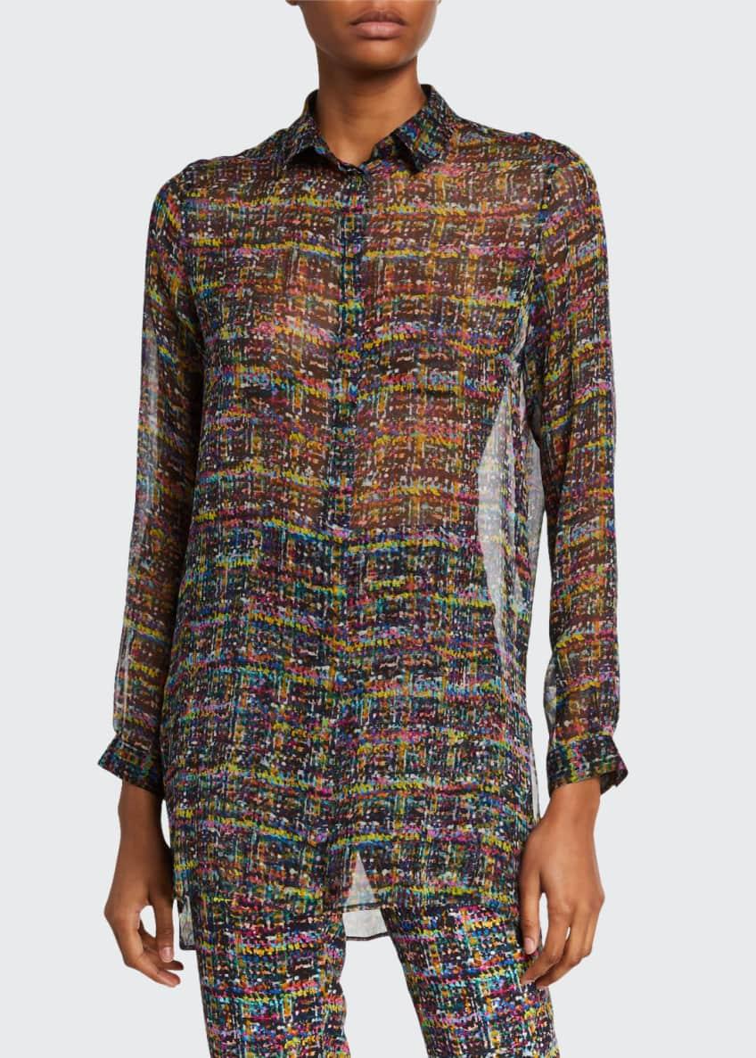 Etro Tweed-Print Sheer Silk Tunic & Matching Items