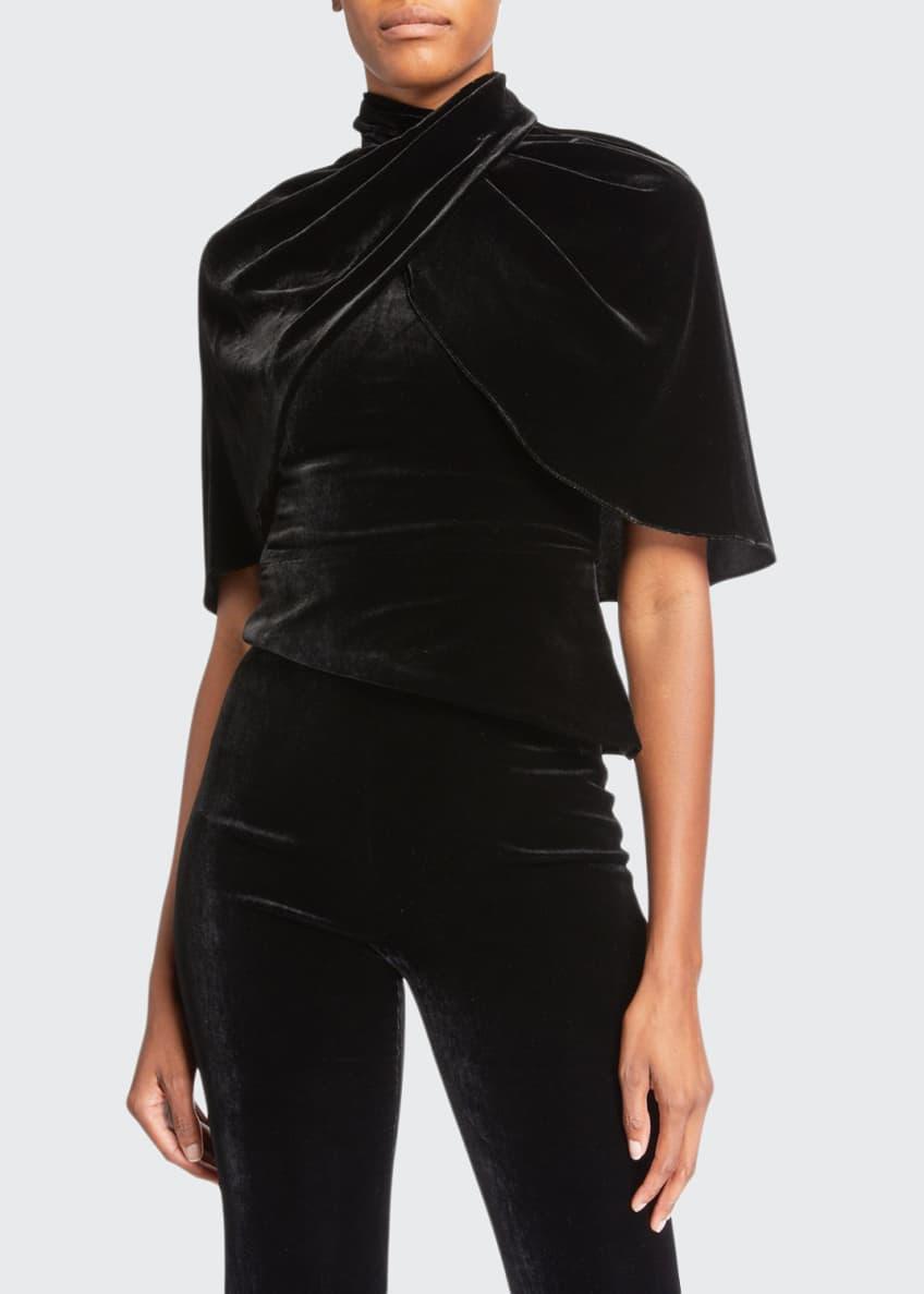 Brandon Maxwell Velvet Cape-Sleeve Top & Matching Items