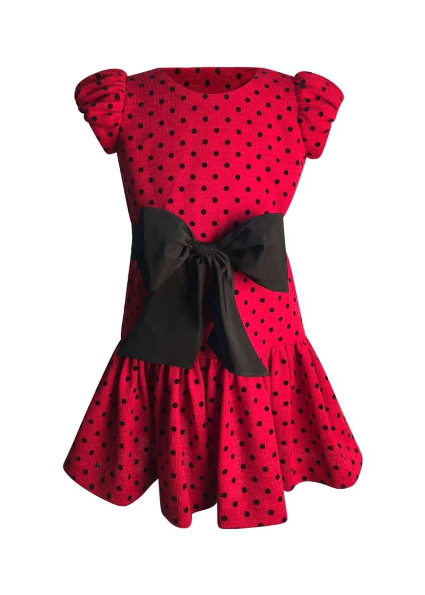 Helena Girl's Polka-Dot Bow Dress, Size 2-6 &