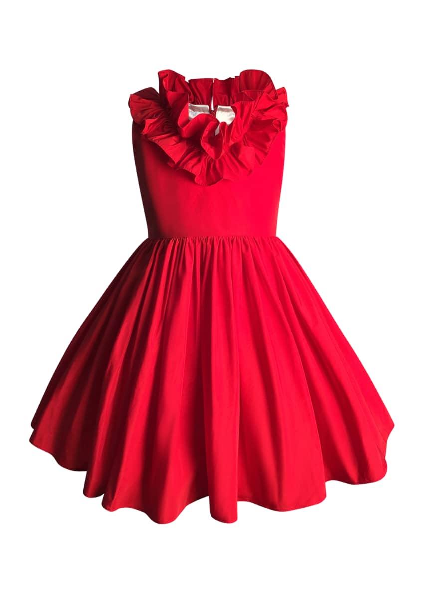 Helena Girl's Ruffle Trim Taffeta Dress, Size 2-6