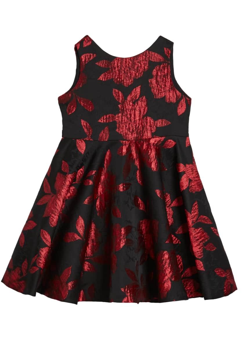 Susanne Lively Girl's Rose Jacquard Sleeveless Twirl Dress,