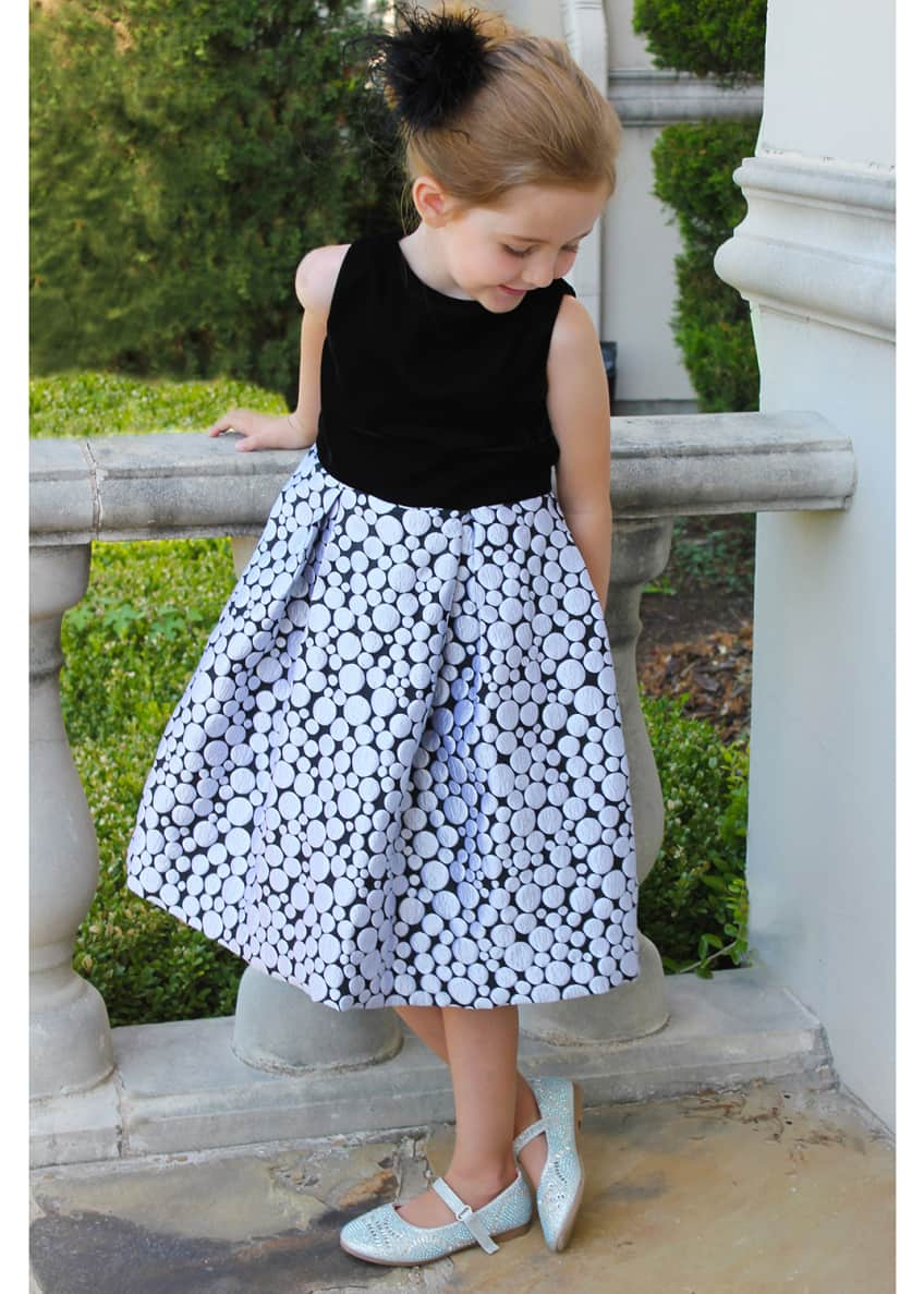 Image 3 of 3: Girl's Bubble Brocade Skirt w/ Velvet Top Dress, Size 4-6X