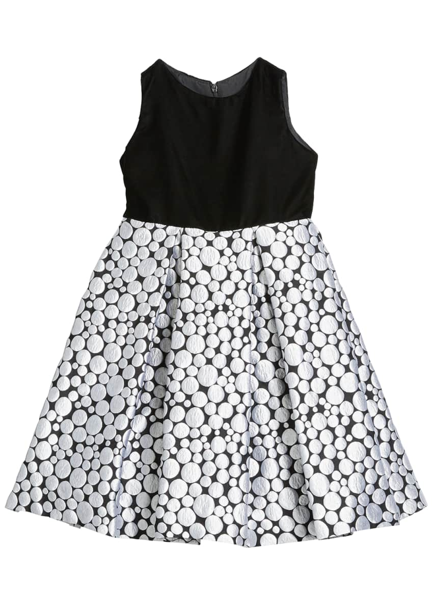 Image 1 of 3: Girl's Bubble Brocade Skirt w/ Velvet Top Dress, Size 4-6X