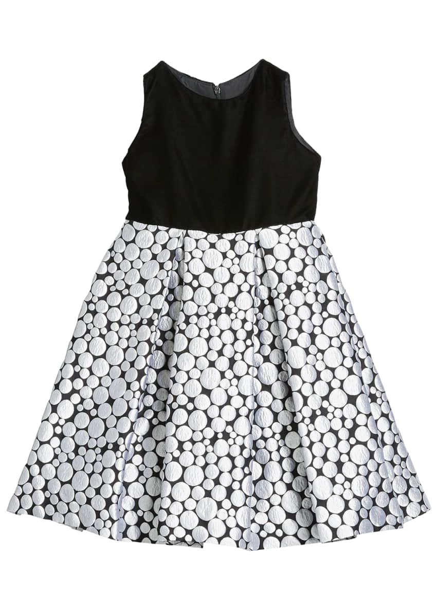 Image 1 of 3: Girl's Bubble Brocade Skirt w/ Velvet Top Dress, Size 12M-3