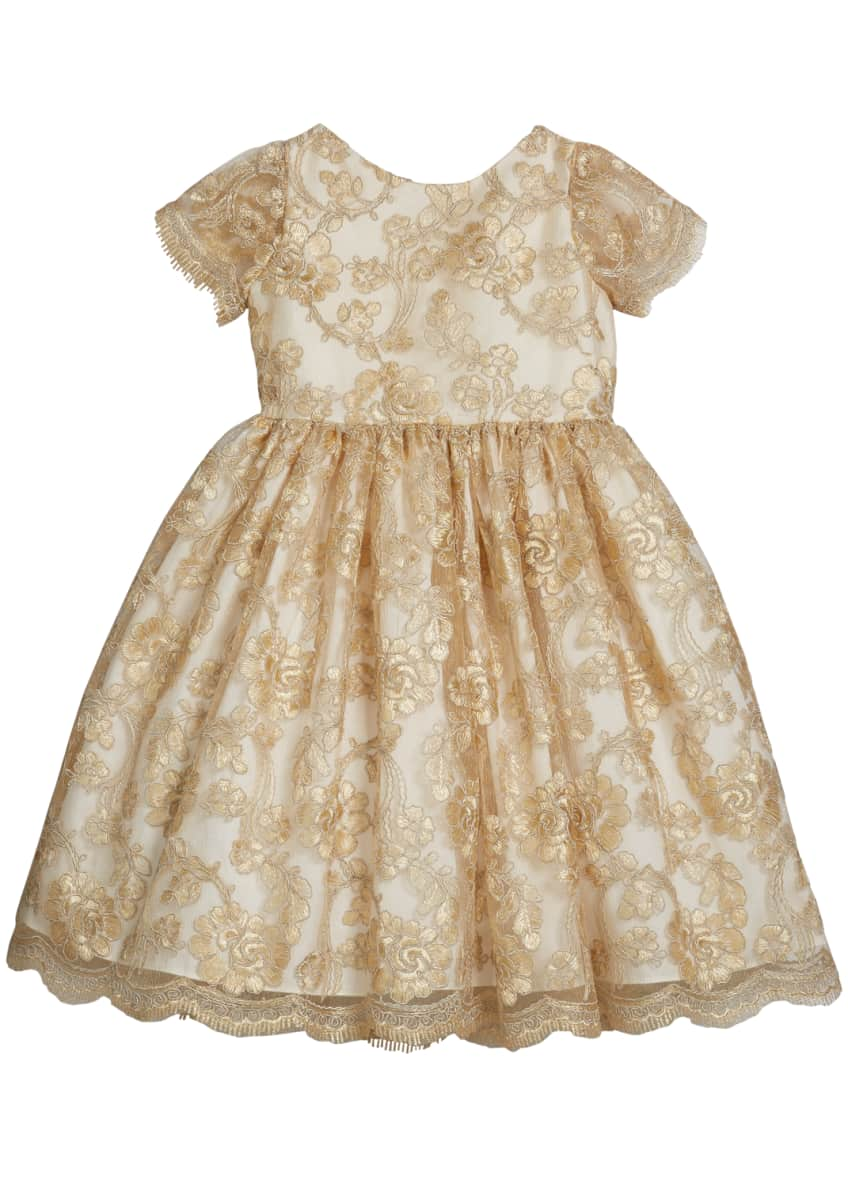 Susanne Lively Girl's Floral Lace Short-Sleeve Fit-&-Flare Dress,