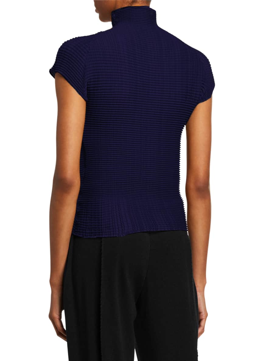 Image 2 of 2: Pleated Cap-Sleeve Turtleneck Top