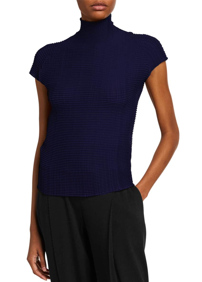 Image 1 of 2: Pleated Cap-Sleeve Turtleneck Top