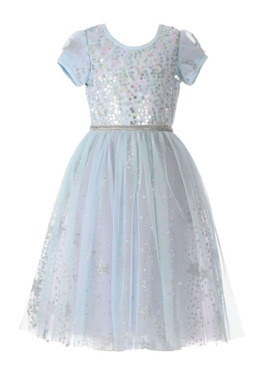 Hannah Banana Girl's Ice Princess Sequin Glitter Dress,