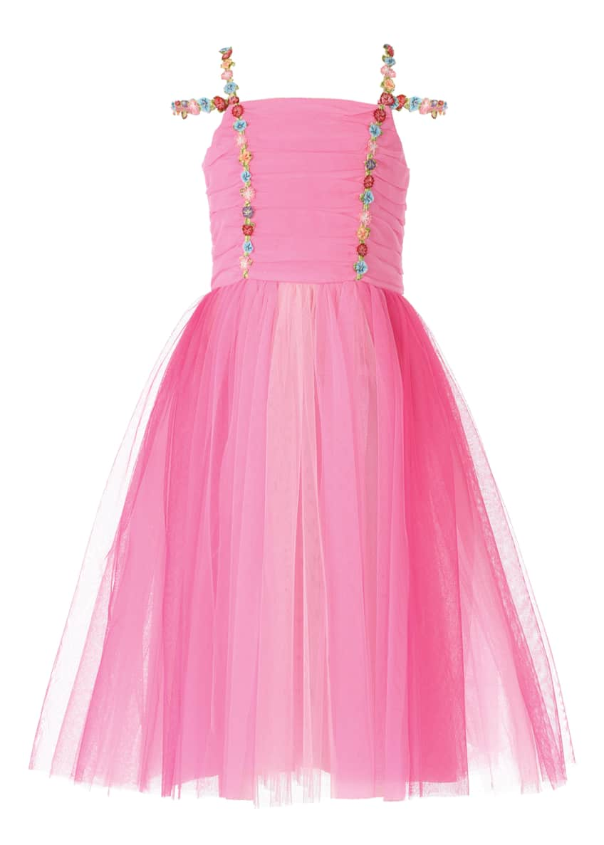 Hannah Banana Girl's Pink Princess Tulle Dress, Size