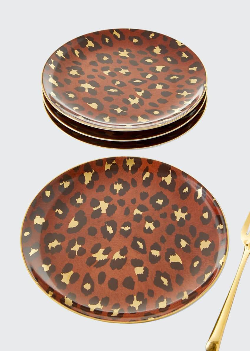 L'Objet Leopard Dessert Plates, Set of 4