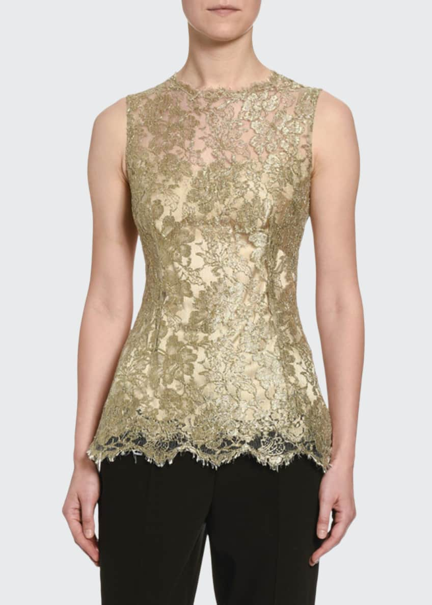 Dolce & Gabbana Sleeveless Metallic Chantilly Lace Blouse