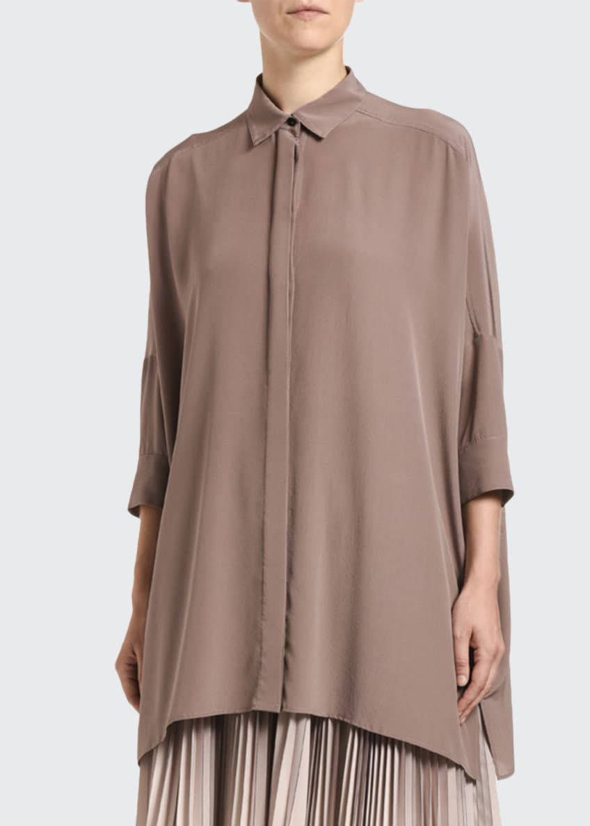 Agnona Oversized Silk Poncho Shirt & Matching Items