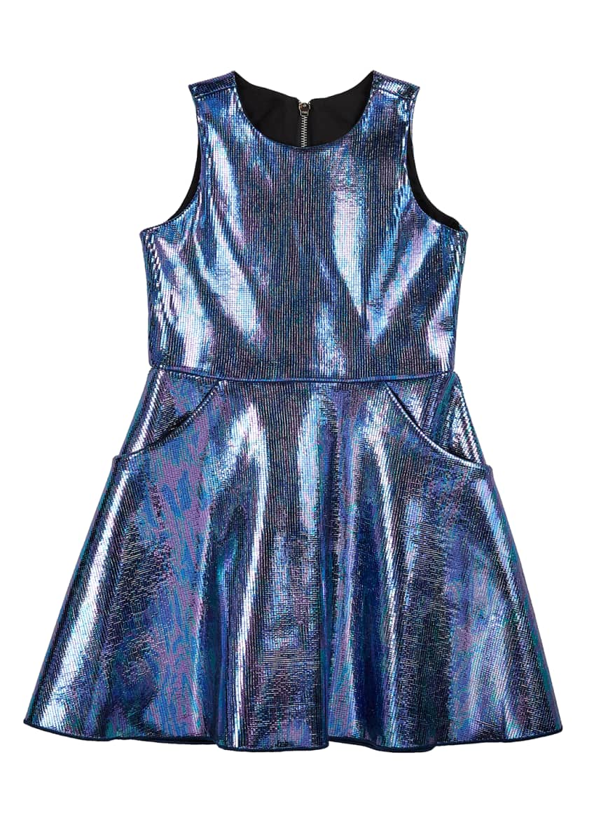 Image 1 of 2: Girl's Metallic Foil Pocket Swing Dress, Size 7-14