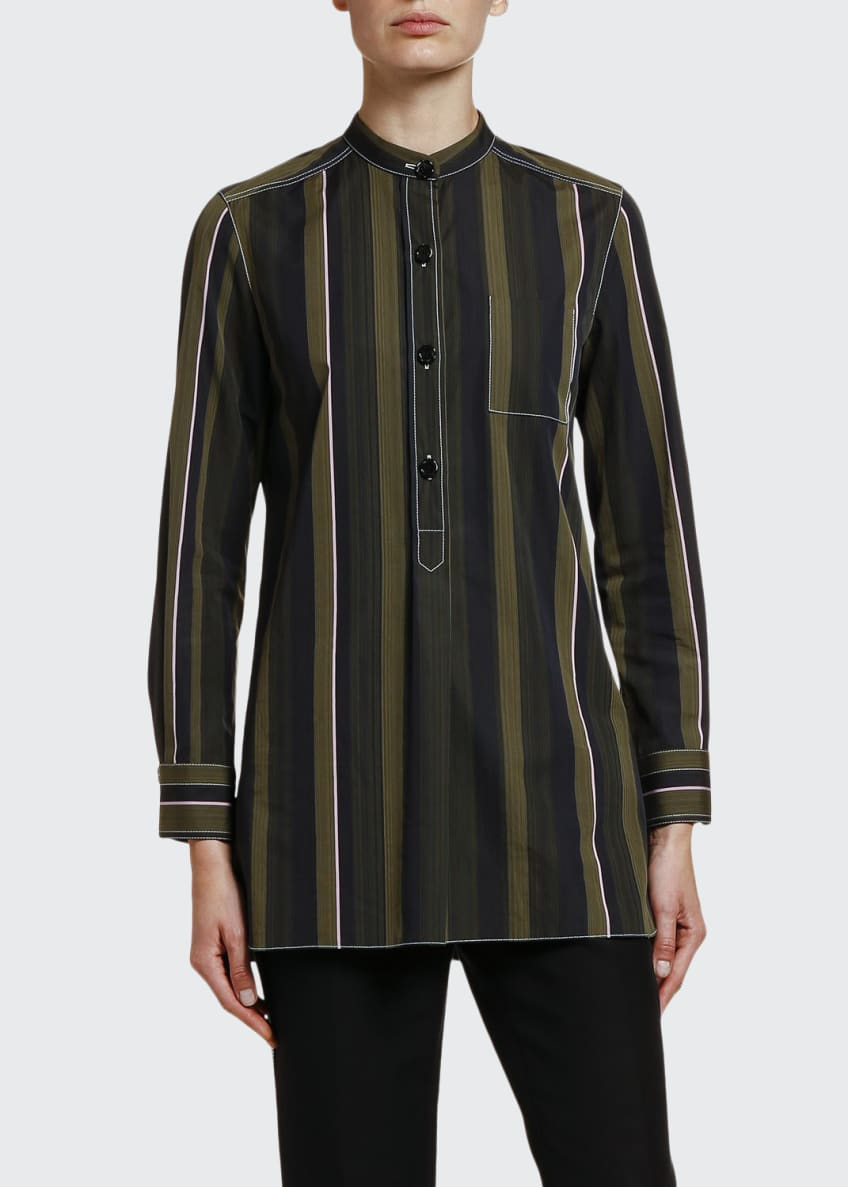 Marni Multi-Striped Cotton Button-Front Blouse & Matching Items