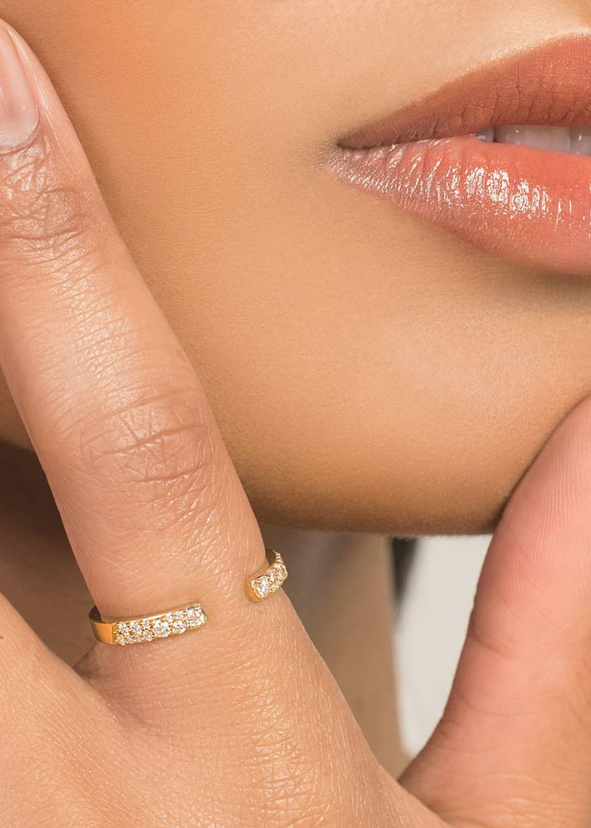 Image 2 of 2: Skinny Flawless Echo 14k Scattered Diamond Ring, Size 7