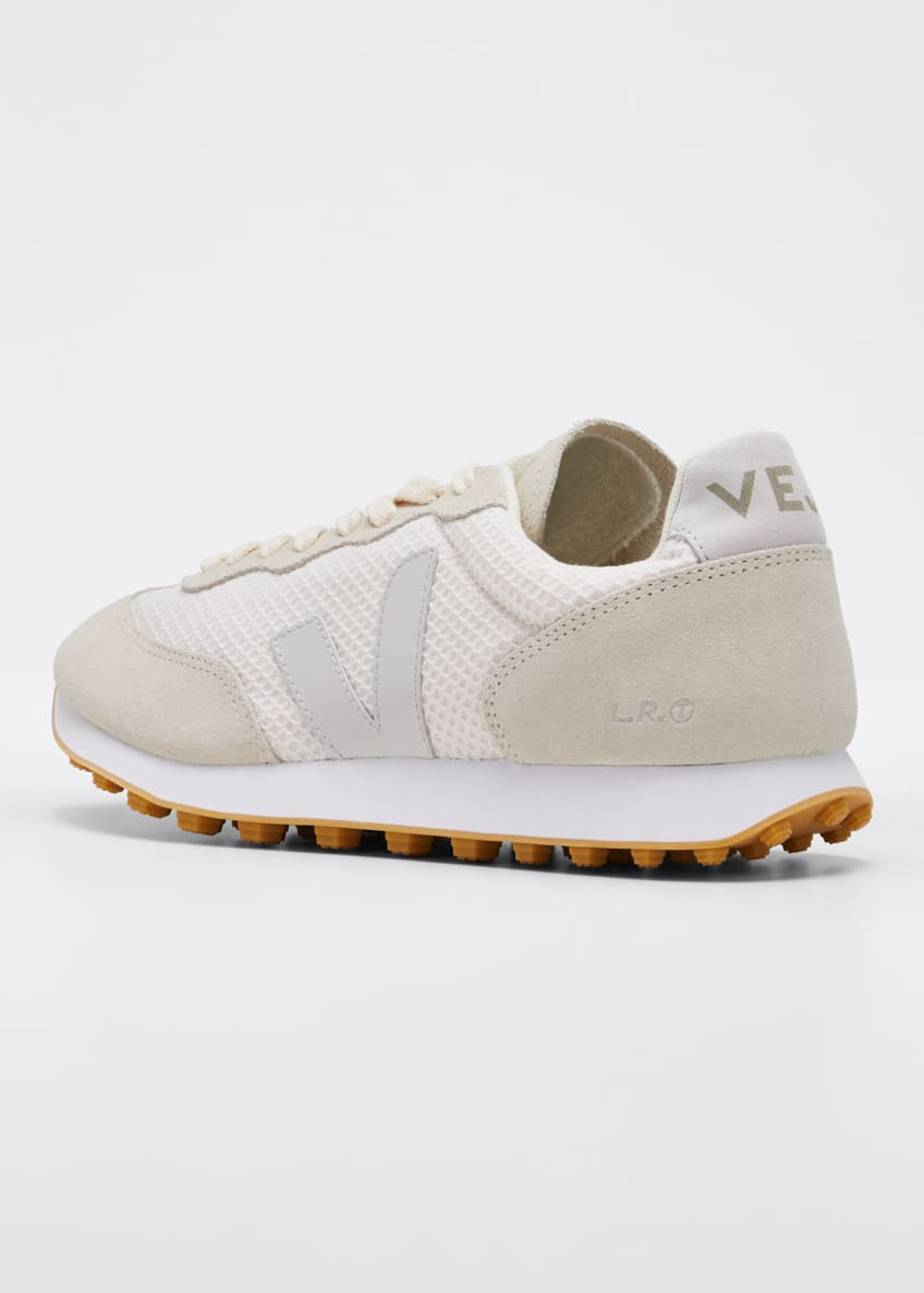 Image 2 of 3: Suede and Mesh Runner Sneakers, Cream