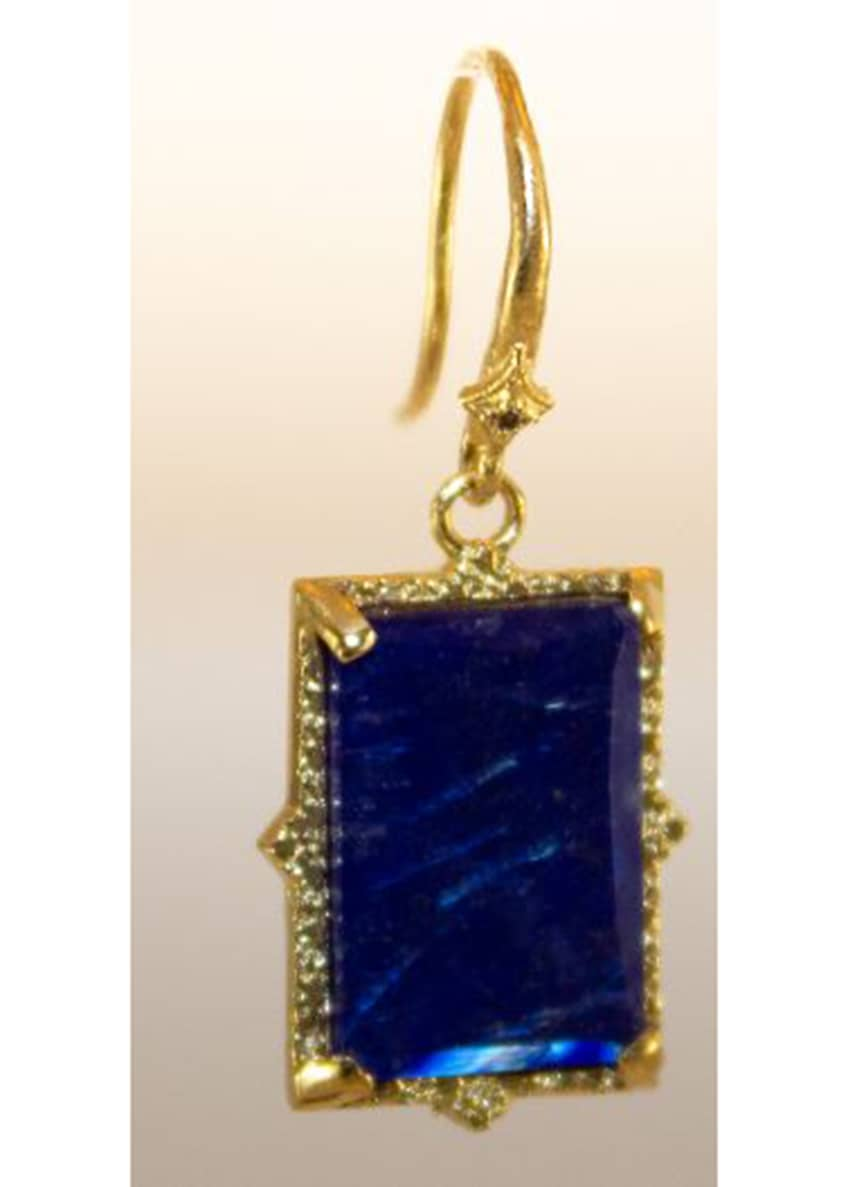 Image 1 of 1: Old World Lapis/Blue Moonstone Rectangular Drop Earrings w/ Diamonds