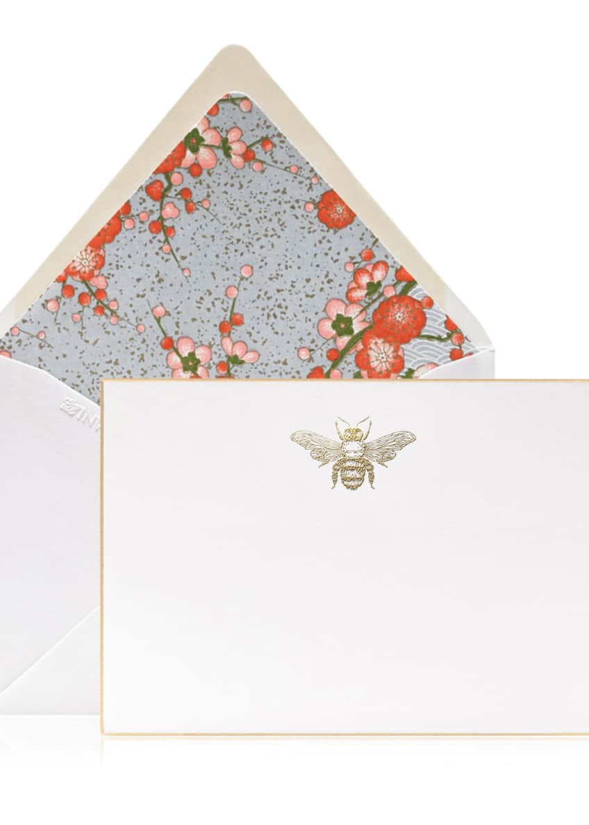 Bell'INVITO Buzz Gold Engraved Bee Stationery Set, Box