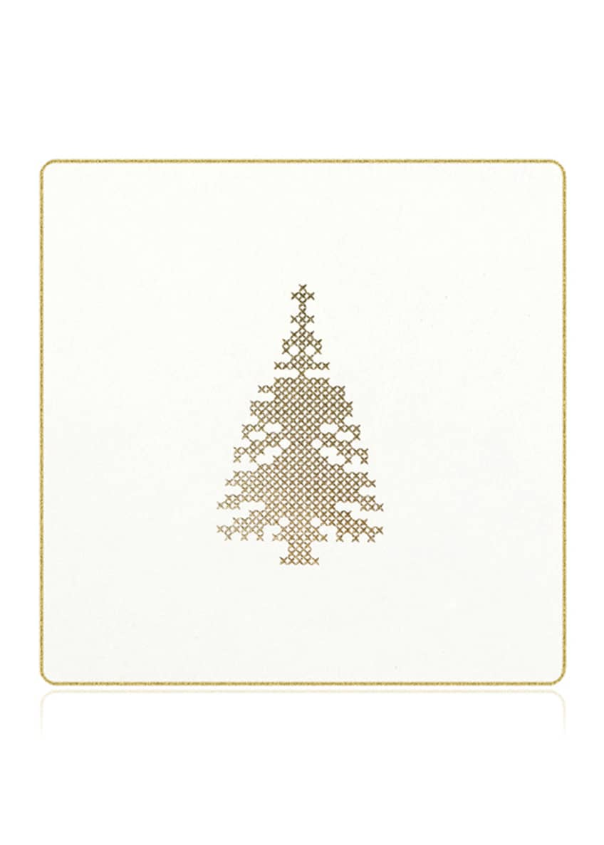 Bell'INVITO Cross Stitch Christmas Tree Coasters, Box of