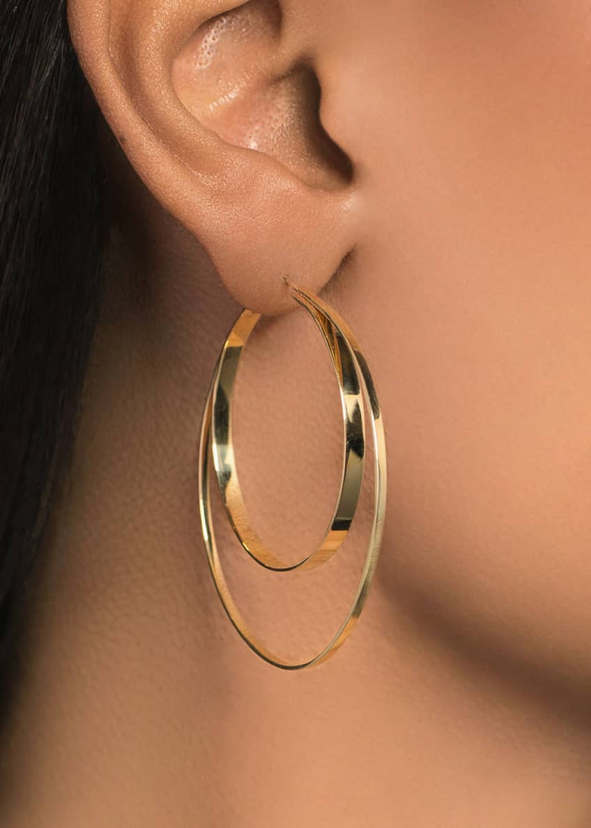 Image 2 of 2: 14k Small Double-Circle Hoop Earrings