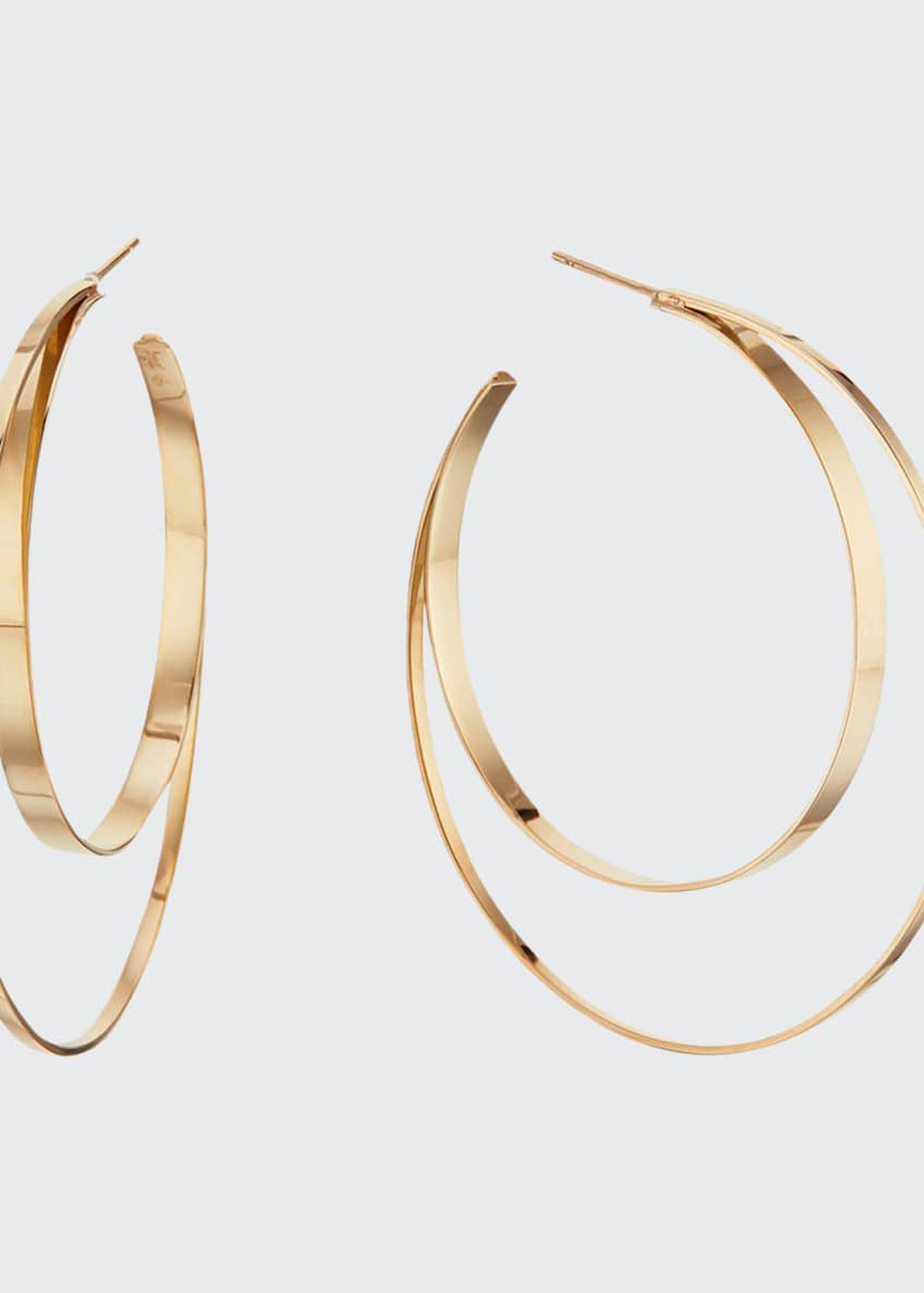 Image 1 of 2: 14k Small Double-Circle Hoop Earrings