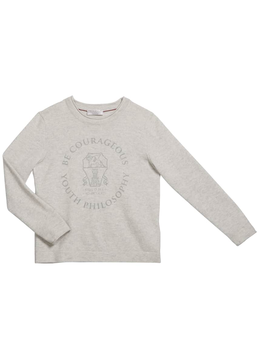 Brunello Cucinelli Boy's Be Courageous Graphic Cashmere Sweater,