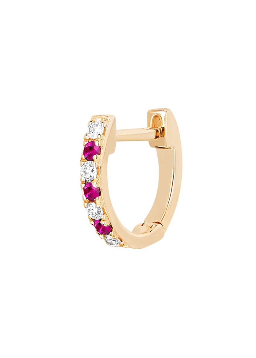 Image 2 of 2: 14k Rose Gold Diamond and Ruby Huggie Earring, Single