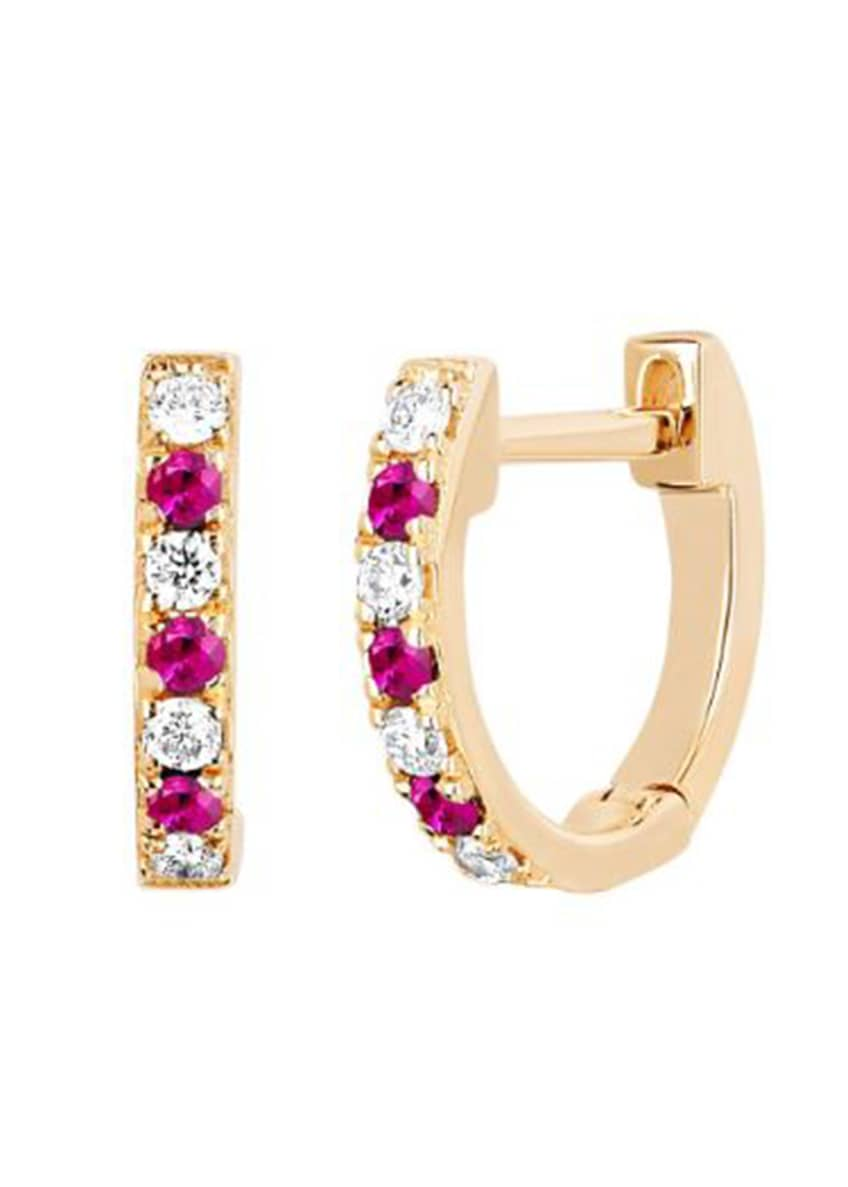 Image 1 of 2: 14k Rose Gold Diamond and Ruby Huggie Earring, Single