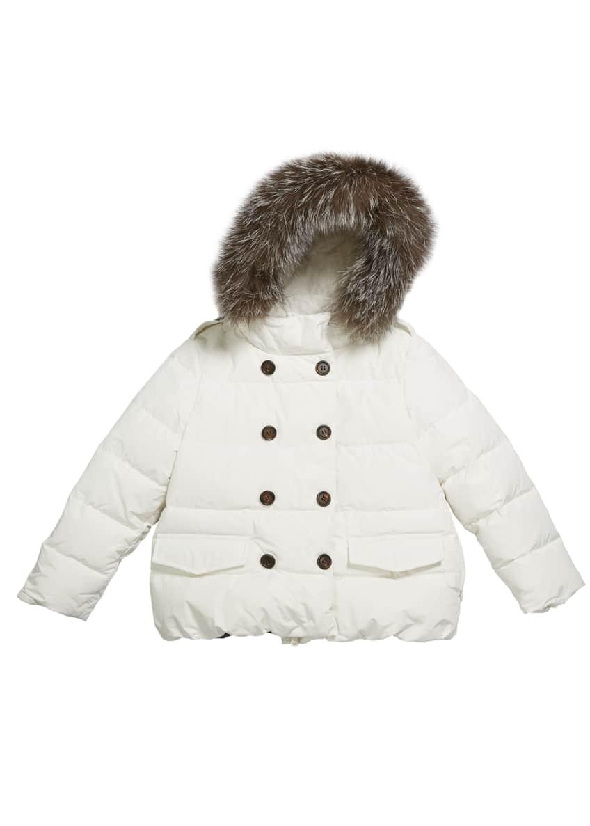 Brunello Cucinelli Girl's Quilted Coat w/ Fur Trim