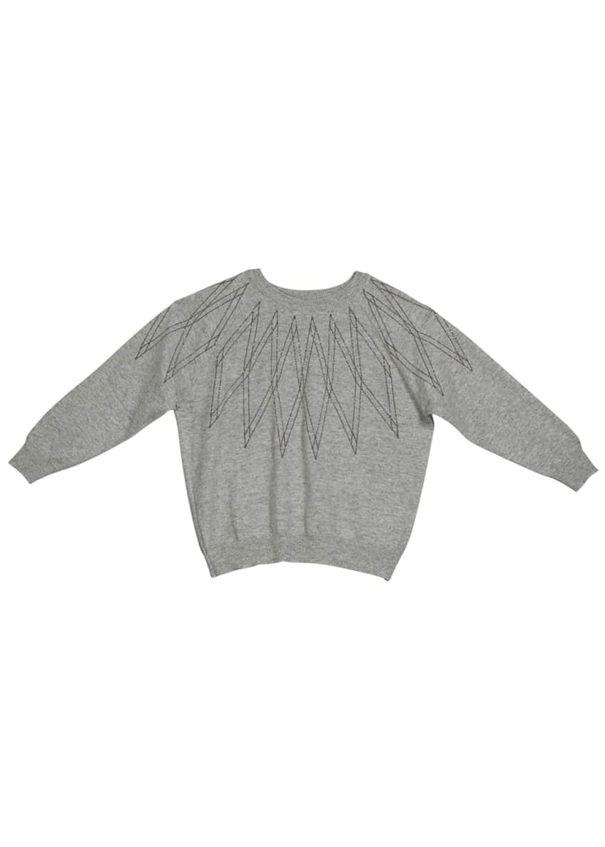 Brunello Cucinelli Girl's Monili Argyle Cashmere Sweater, Size