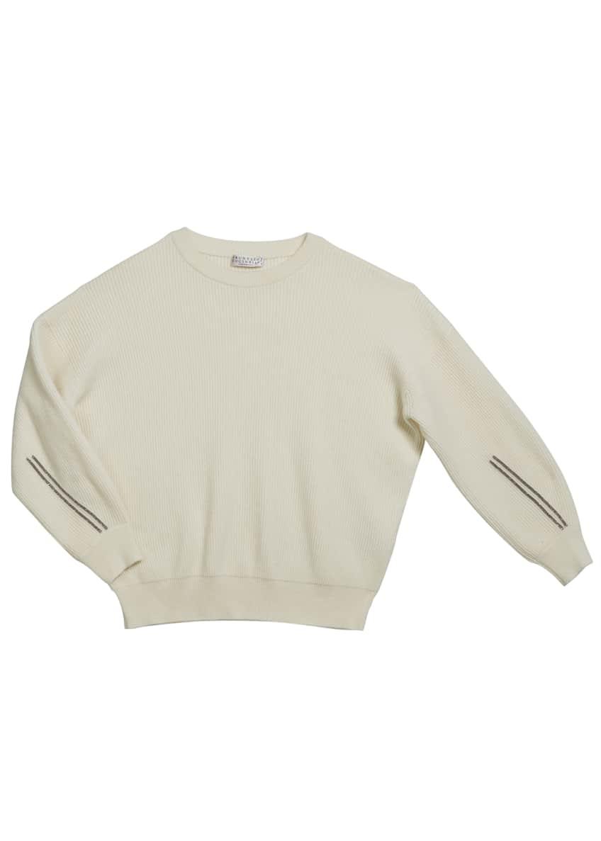 Brunello Cucinelli Girl's Cashmere English Rib Sweater w/