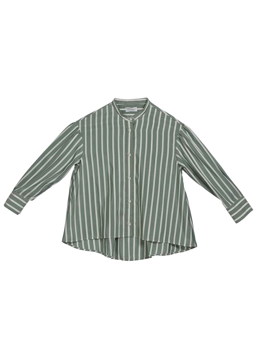 Brunello Cucinelli Girl's Striped Button-Down Silk Blouse w/