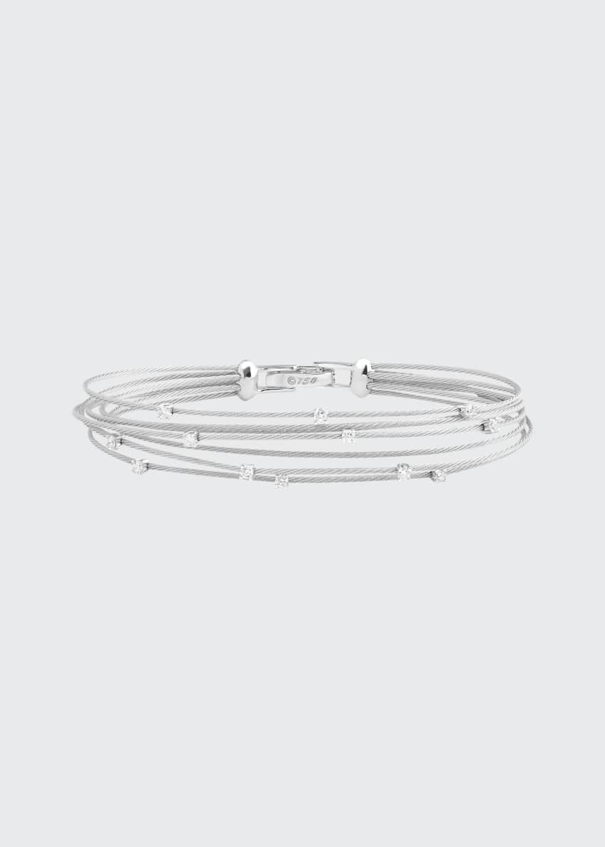 Image 1 of 1: Seven-Strand Cable Wire Bracelet with Diamonds