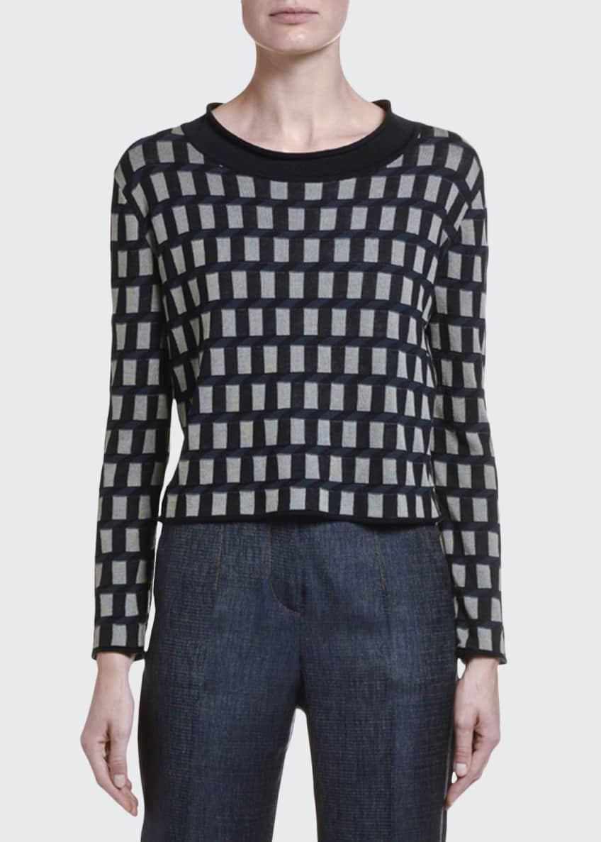 Giorgio Armani Cubist Silk-Cotton Crop Sweater & Matching