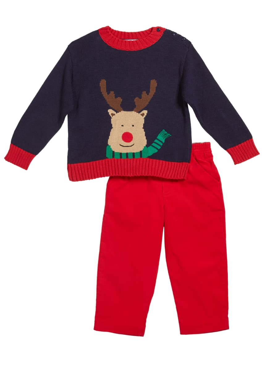 Image 1 of 1: Boy's Reindeer Intarsia Sweater w/ Corduroy Pants, Size 12-24 Months