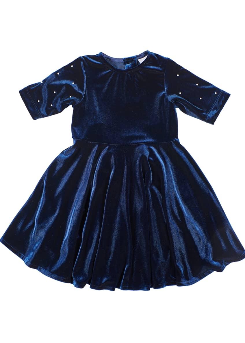 Florence Eiseman Girl's Stretch Velvet Dress w/ Pearly