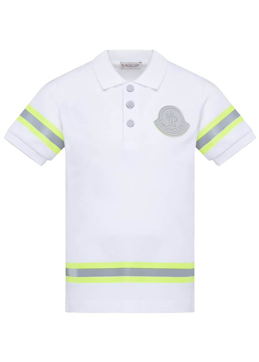 Moncler Boy's Maglia Polo Shirt w/ Reflective Tape,