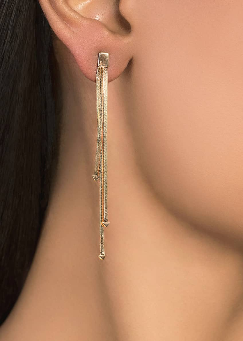 Image 2 of 2: 14k 3-Strand Linear Dangle Earrings