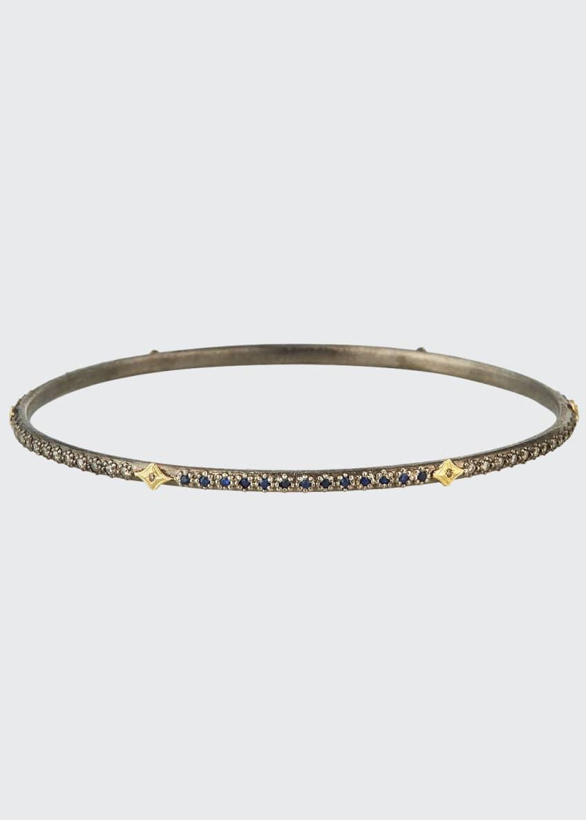 Armenta Old World Lapis/Diamond Bangle Bracelet, Size M