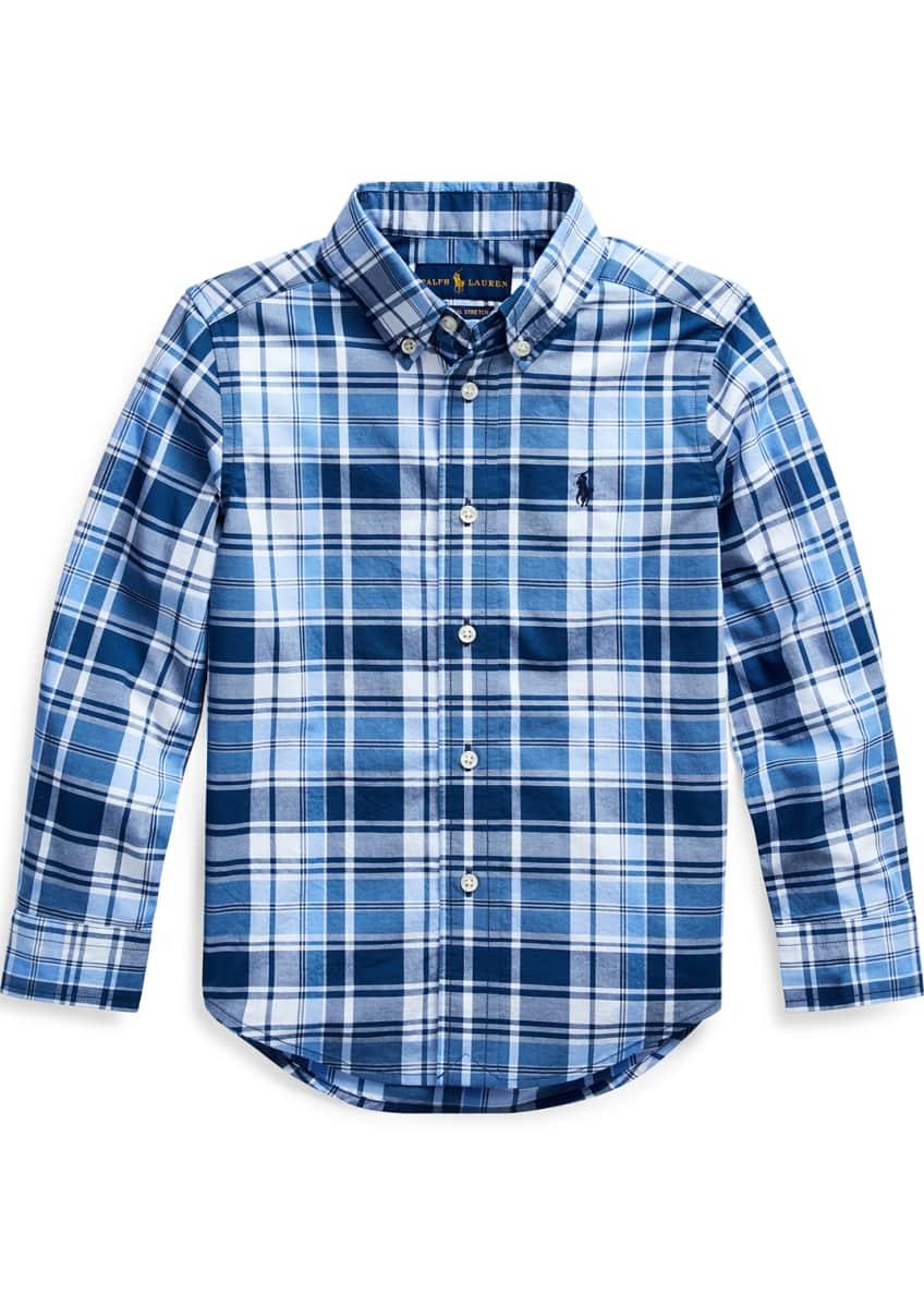 Ralph Lauren Childrenswear Boy's Plaid Button-Down Collar Shirt,