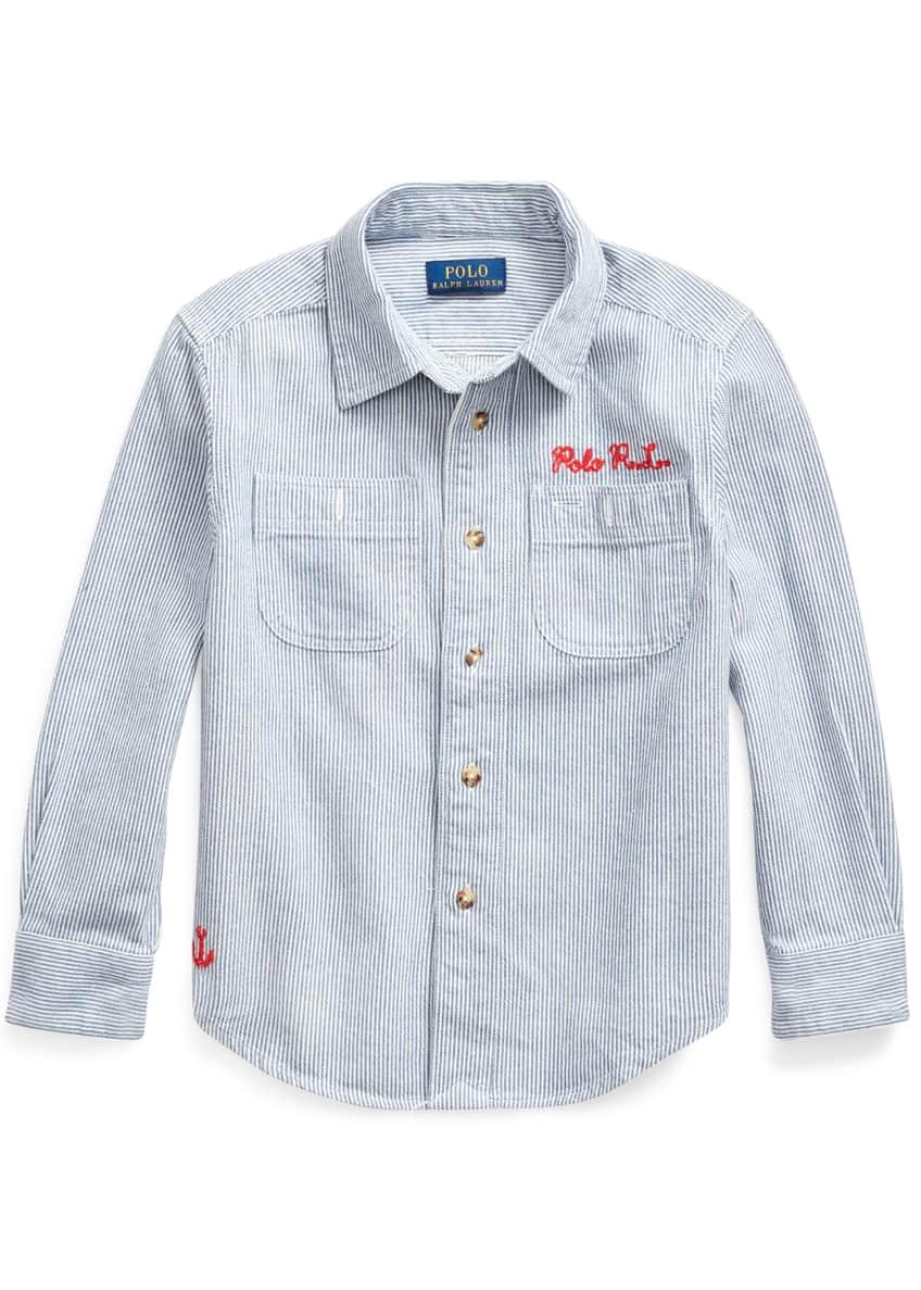 Ralph Lauren Childrenswear Boy's Stripe Ship Graphic Button-Down