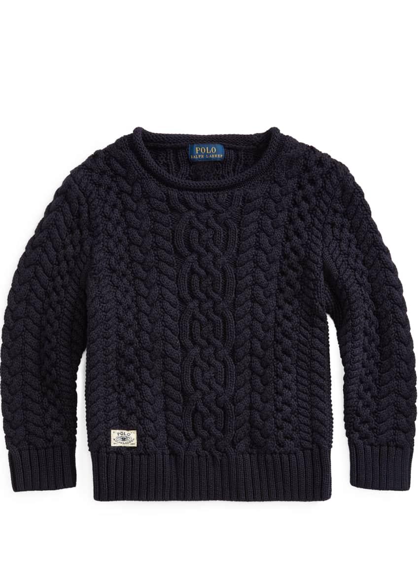 Ralph Lauren Childrenswear Boy's Aran Cable Knit Sweater,
