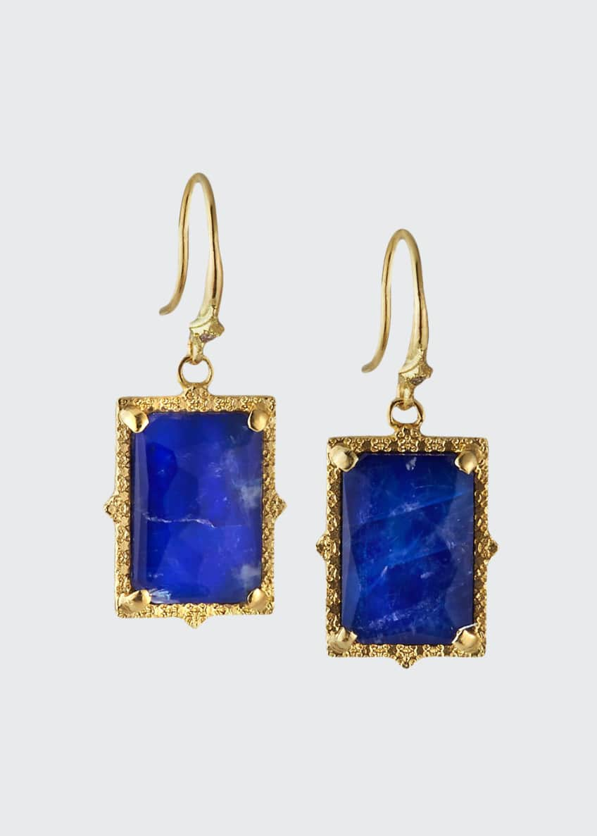 Armenta Old World Lapis/Blue Moonstone Rectangular Drop Earrings