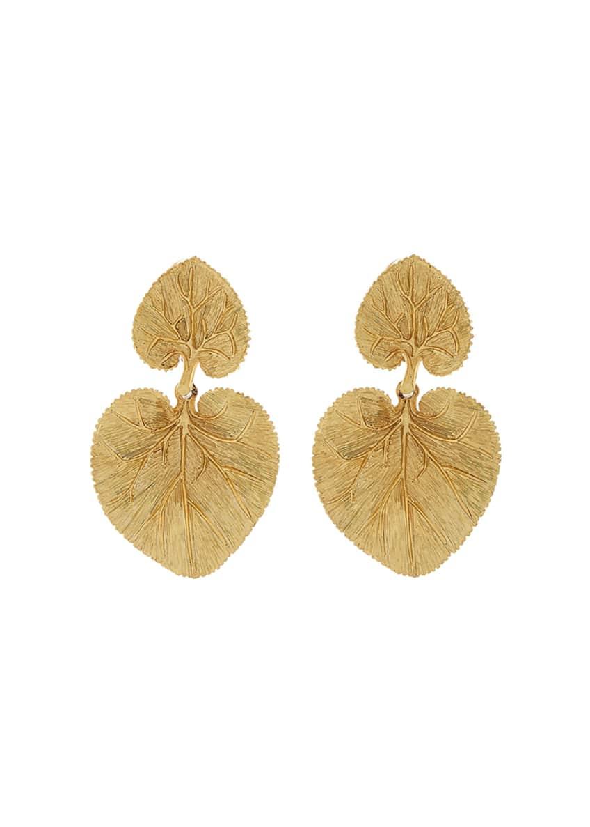 Oscar de la Renta Eucalyptus Leaf Clip Earrings