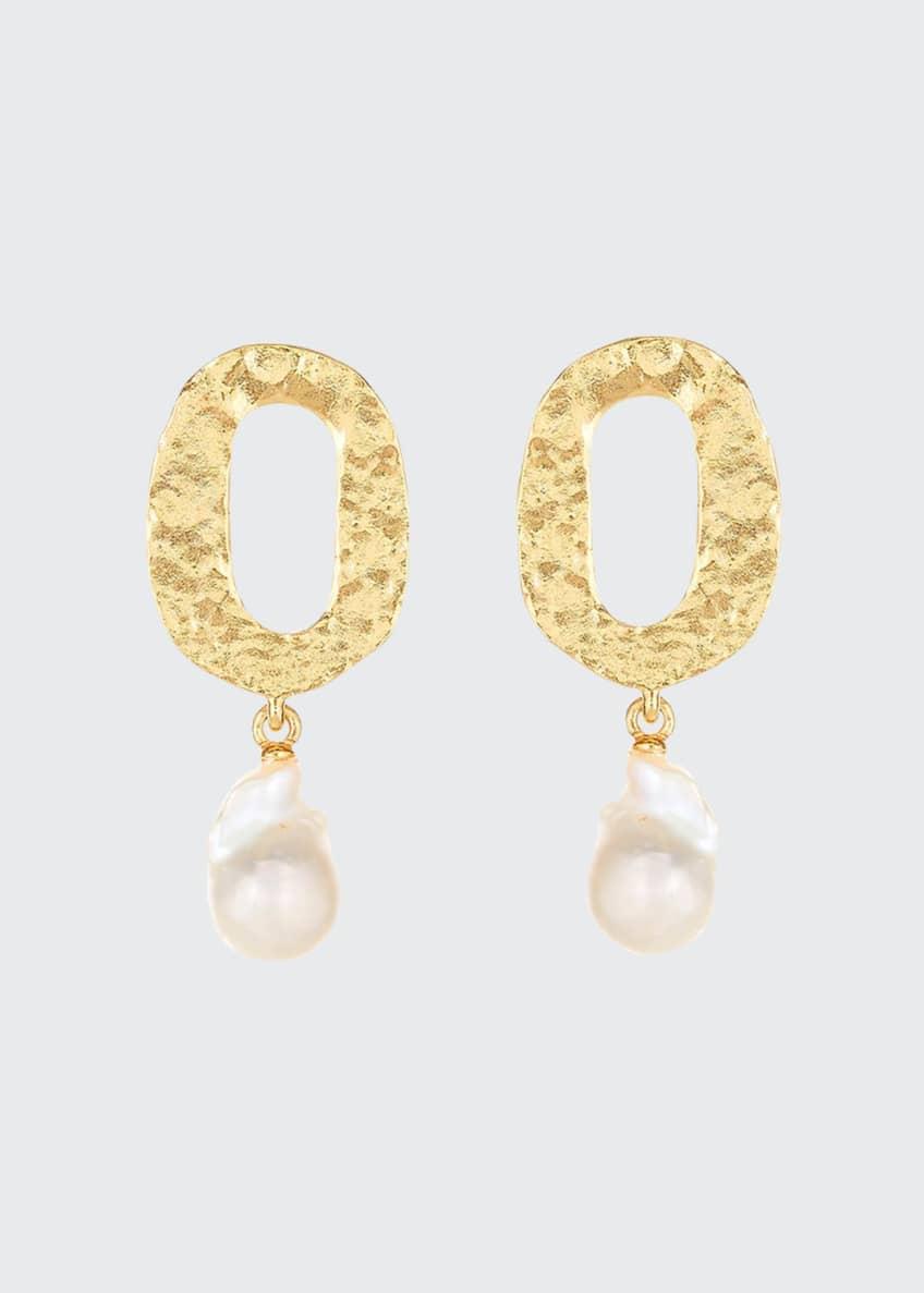 Oscar de la Renta Hammered Pearl-Drop Clip Earrings
