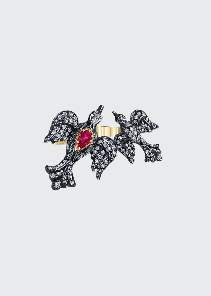 Arman Sarkisyan Mother-Child Diamond Bird Ring w/ Ruby,